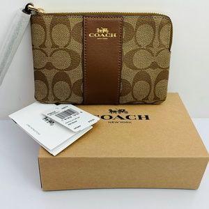 NWT COACH Wristlet Brown Signature PVC +Gift Box